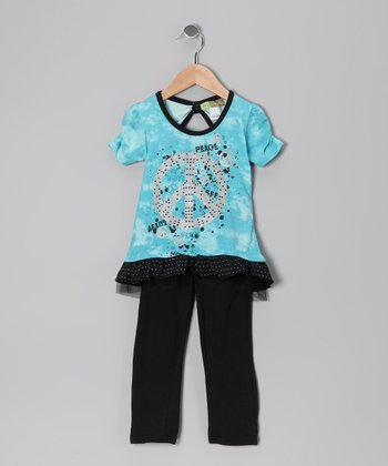 Blue & Black Peace Sign Tunic & Leggings - Toddler
