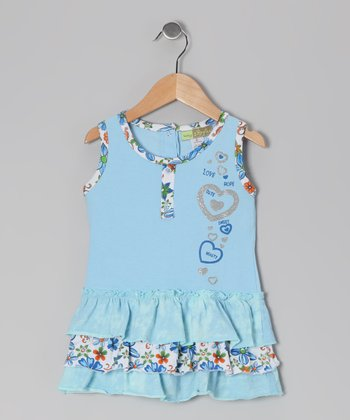 Light Blue Heart Tiered Ruffle Dress - Toddler