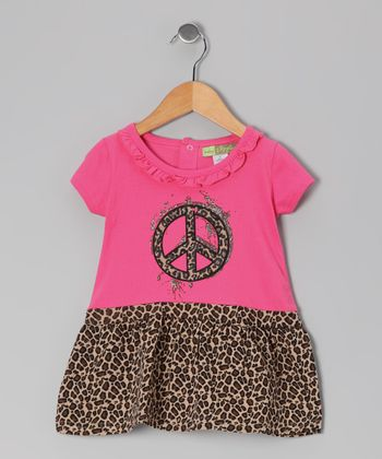 Pink & Brown Cheetah Peace Sign Dress - Toddler