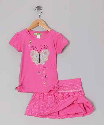 Fuchsia Butterfly Tee & Skort - Girls