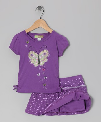 Purple Butterfly Tee & Skort - Toddler & Girls