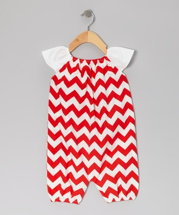 Red Zigzag Bubble Romper - Infant & Toddler