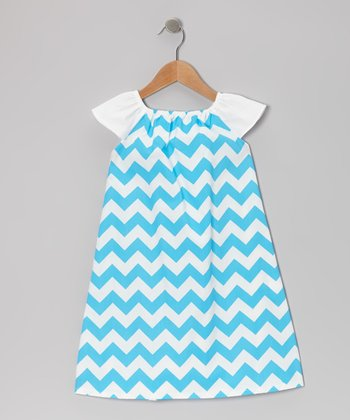 Turquoise Zigzag Angel-Sleeve Dress - Infant, Toddler & Girls