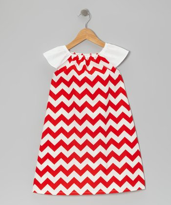 Red Zigzag Angel-Sleeve Dress - Infant & Toddler