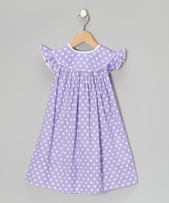 Purple Polka Dot Angel-Sleeve Dress - Infant, Toddler & Girls