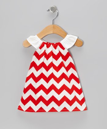 Red Zigzag Angel-Sleeve Doll Dress