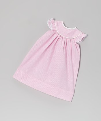 Pink Angel-Sleeve Seersucker Doll Dress