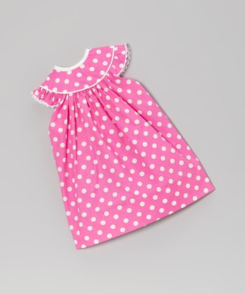 Pink Polka Dot Angel-Sleeve Doll Dress