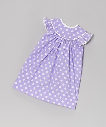 Purple Polka Dot Angel-Sleeve Doll Dress