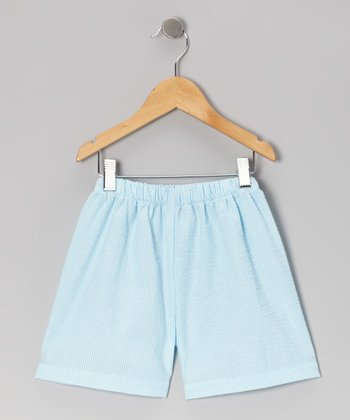 Turquoise Stripe Seersucker Shorts - Infant, Toddler & Kids