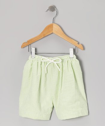 Green Seersucker Shorts - Infant, Toddler & Kids