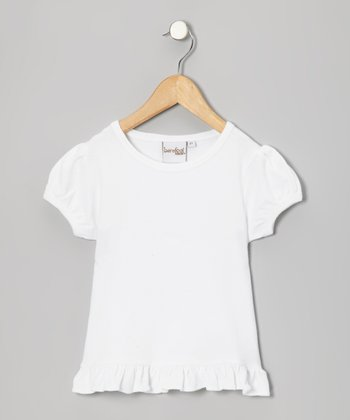 White Ruffle-Hem Cap-Sleeve Top - Infant, Toddler & Girls