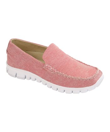 Pink Canvas Slip-On Moccasin