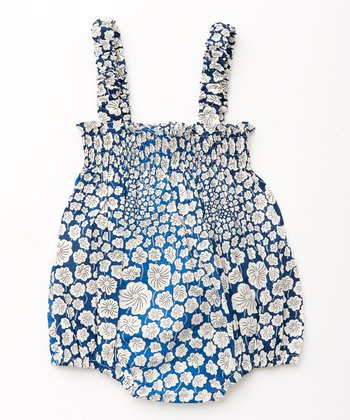 Blue Big Flower Bubble Bodysuit - Infant