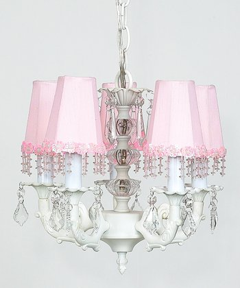 White & Pink Beaded Chandelier