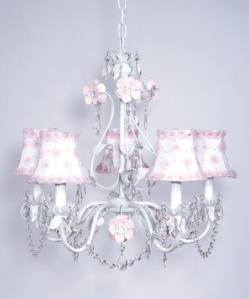 White & Pink Flower Garden Chandelier