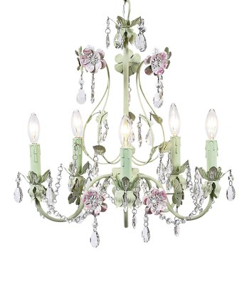 Green & Pink Flower Garden Chandelier