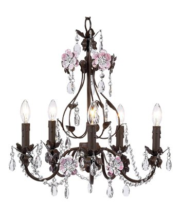Brown & Pink Flower Garden Chandelier