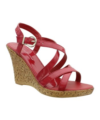 Red Patent Alice Wedge