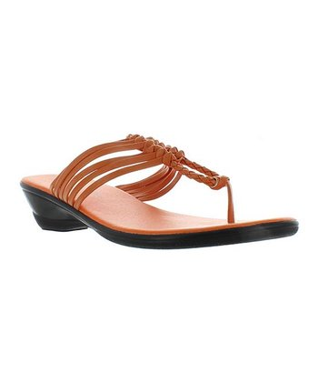 Orange Braid Winnie T-Strap Sandal