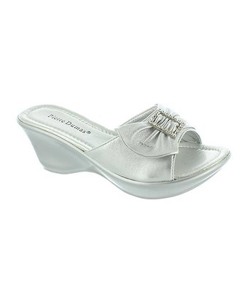 Silver Bow Affair Slide Wedge