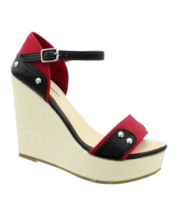 Black & Red Patty Wedge Sandal