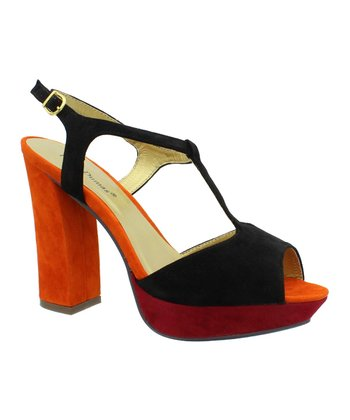Black & Orange Bonnibel T-Strap Sandal