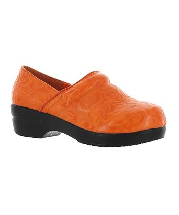Orange Embossed Rochele Clog