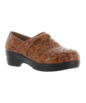 Tan Embossed Rochele Clog