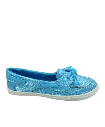 Blue Sequin Loafer