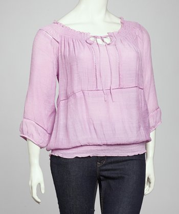 Lavender Peasant Tunic - Plus