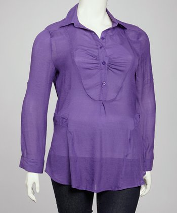 Plum Sheer Henley Tunic - Plus