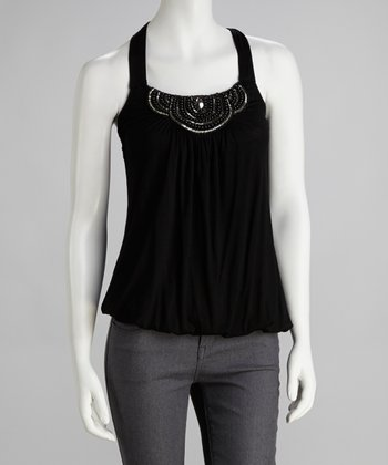 Black Beaded Halter Top
