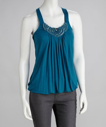 Teal Beaded Halter Top