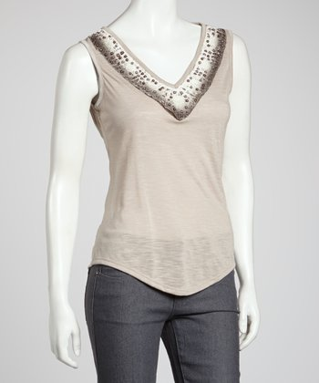Taupe Crocheted Tank