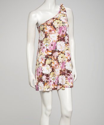 Pink Floral Asymmetrical Dress