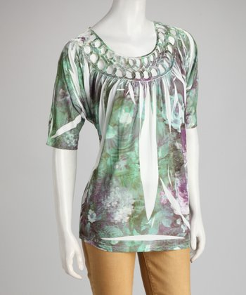 Green Watercolor Sublimation Scoop-Neck Top