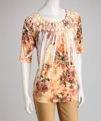Pink & Yellow Rose Sublimation Scoop Neck Top