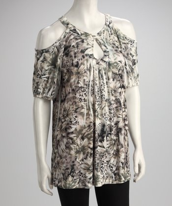 Brown Floral Jungle Sublimation Cutout Tunic