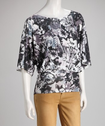 Black & Gray Floral Sublimation Blouson Top