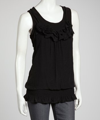 Black Ruffle Rope Tank
