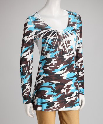 Aqua & Brown Camo Sublimation Scoop Neck Top