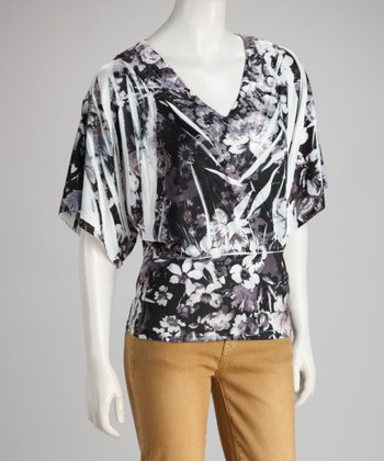 Black & Gray Floral Sublimation Cape-Sleeve Top