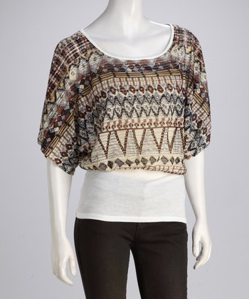 Brown Tribal Dolman Top