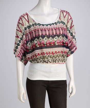 Fuchsia Tribal Dolman Top