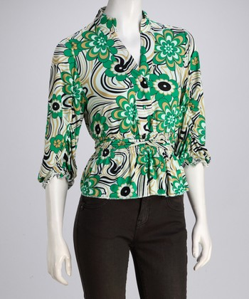 Green & Black Floral Button-Up Top