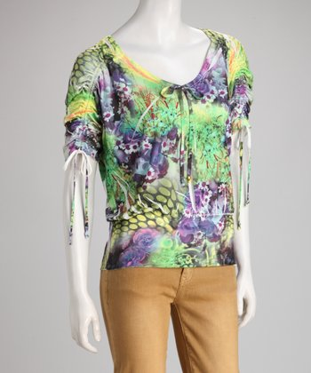 Green & Purple Wildflower Sublimation Top
