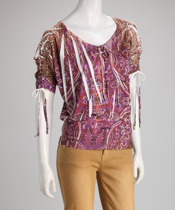 Magenta Paisley Filigree Sublimation Top