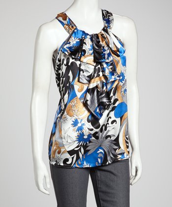 Blue Abstract Ruffle Sleeveless Top