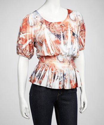 Orange Watercolor Peasant Top